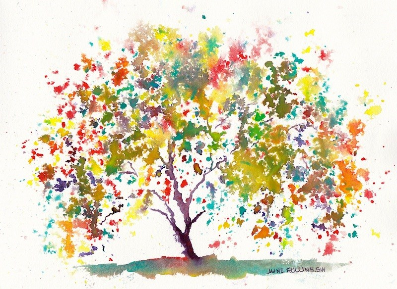 """Young At Heart Triad Tree"" original fine art by June Rollins"