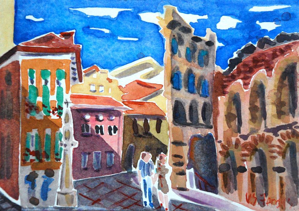 """Verona Lovers, At the Arena"" original fine art by Virginia Fergus"