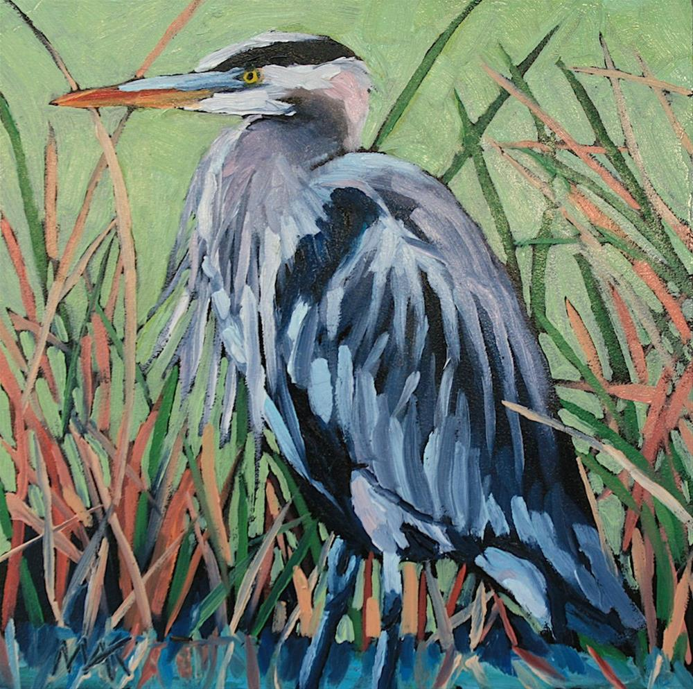 """""""Great Blue Heron"""" original fine art by Mary Anne Cary"""