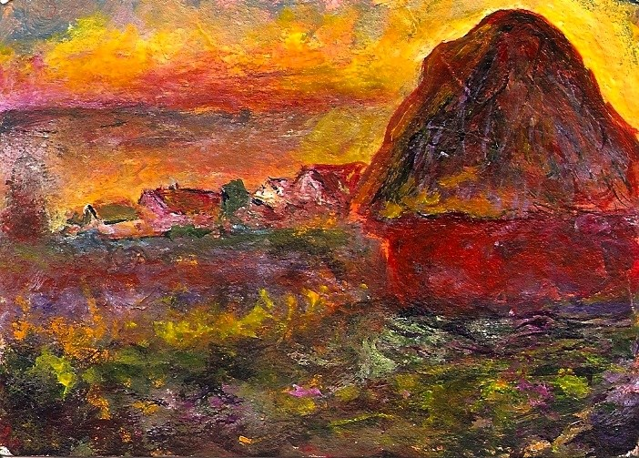 """""""ACEO Haystack at Sunset in the Style of Monet Acrylic Mini Master Penny StewArt"""" original fine art by Penny Lee StewArt"""