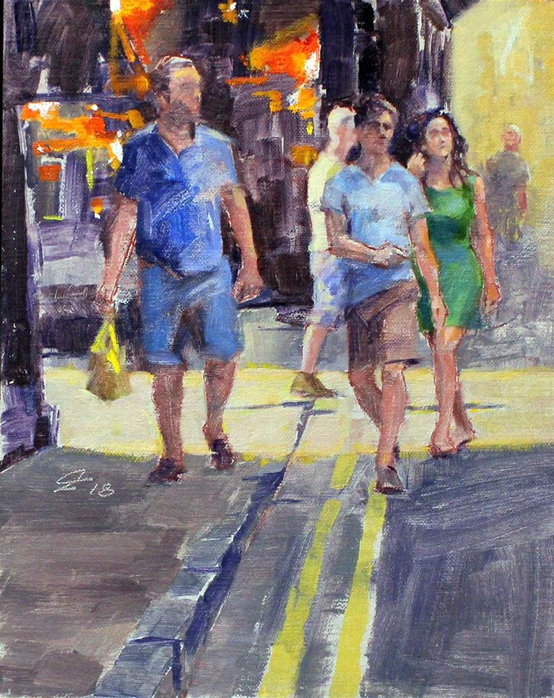 """Tourists-91718"" original fine art by Ron Ferkol"