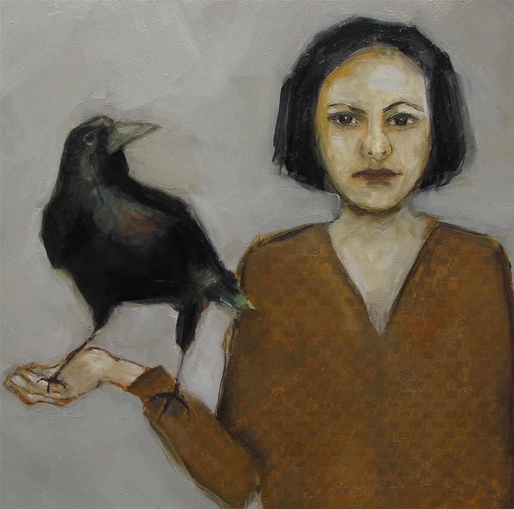 """""""ORIGINAL Portrait Crow Raven Black Bird Goth 8x8 Colette Davis Art Painting OIL"""" original fine art by Colette Davis"""