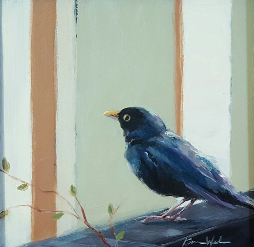 """Tuesday's Blackbird"" original fine art by Karen Weber"