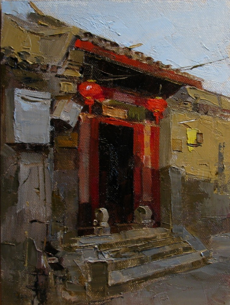 """""""Gate with Red Lanterns"""" original fine art by Qiang Huang"""