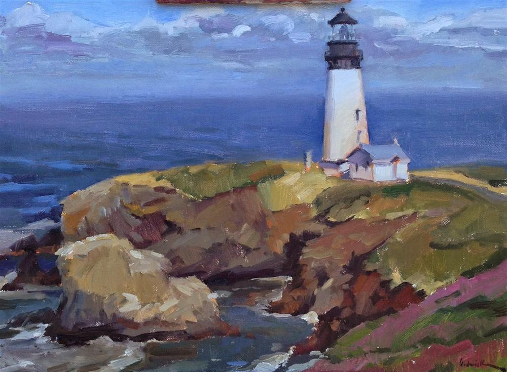 """""""The Lighthouse at Yaquina Head"""" original fine art by Sarah Sedwick"""