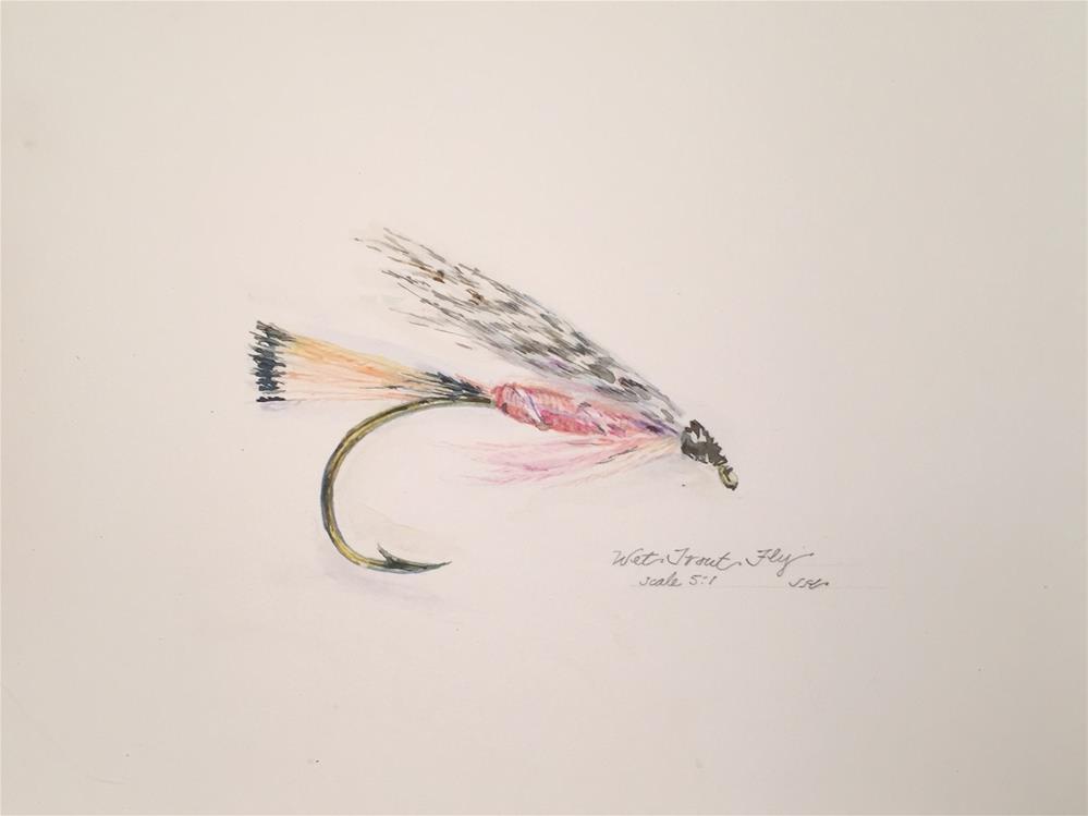 """""""Wet Trout Fly"""" original fine art by Jean Krueger"""