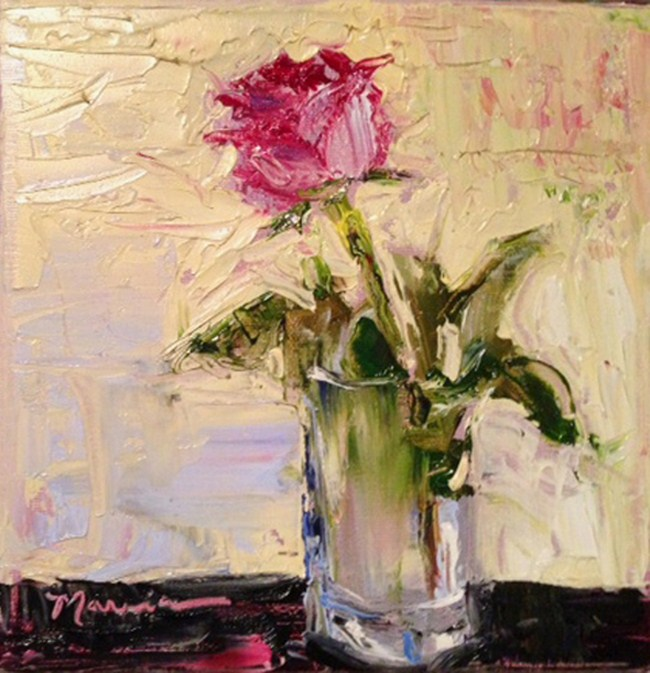 """""""Pink Rose for You"""" original fine art by Marcia Hodges"""