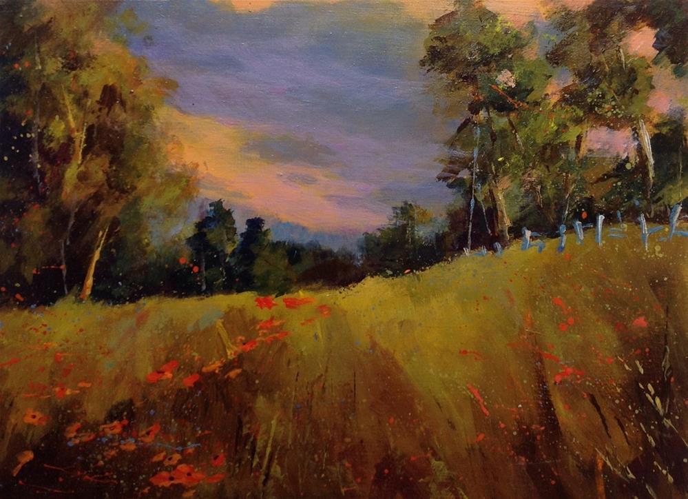 """Original acrylic landscape meadow flower painting"" original fine art by Alice Harpel"