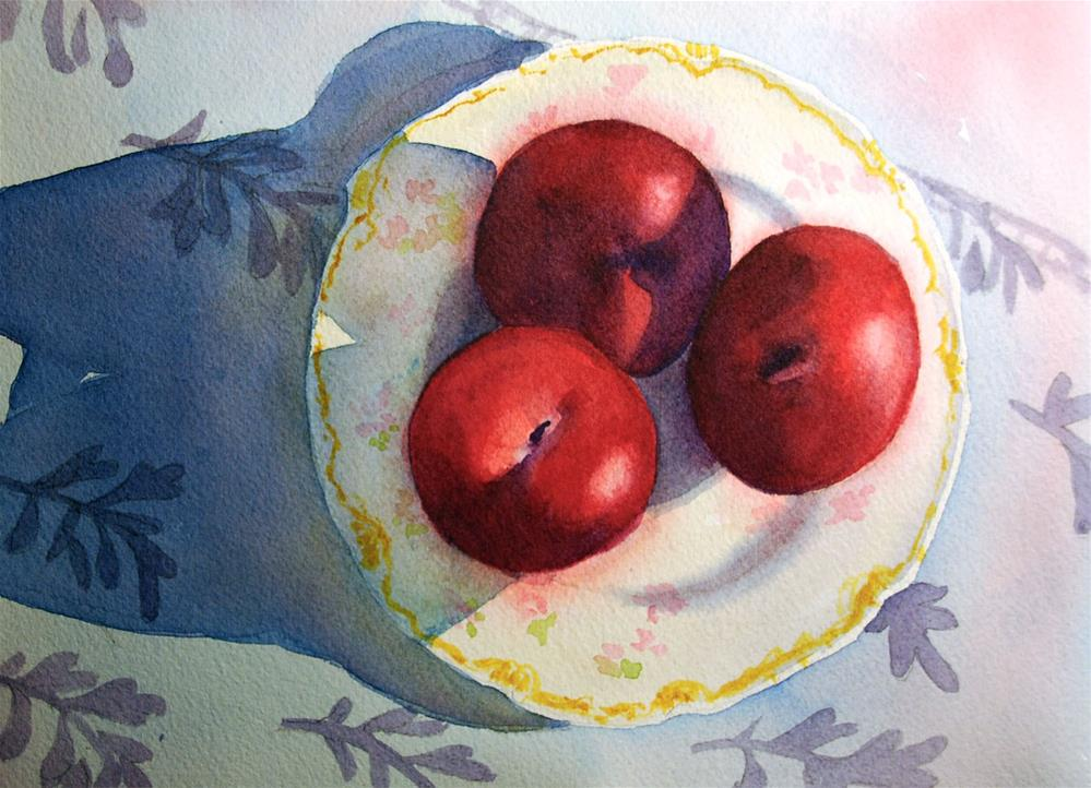 """Three Plums"" original fine art by Mary Anderson"