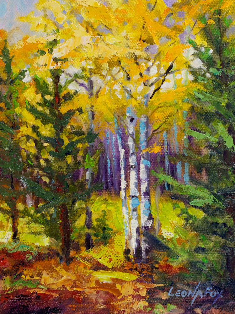 """Guilded Aspen"" original fine art by Leona Fox"