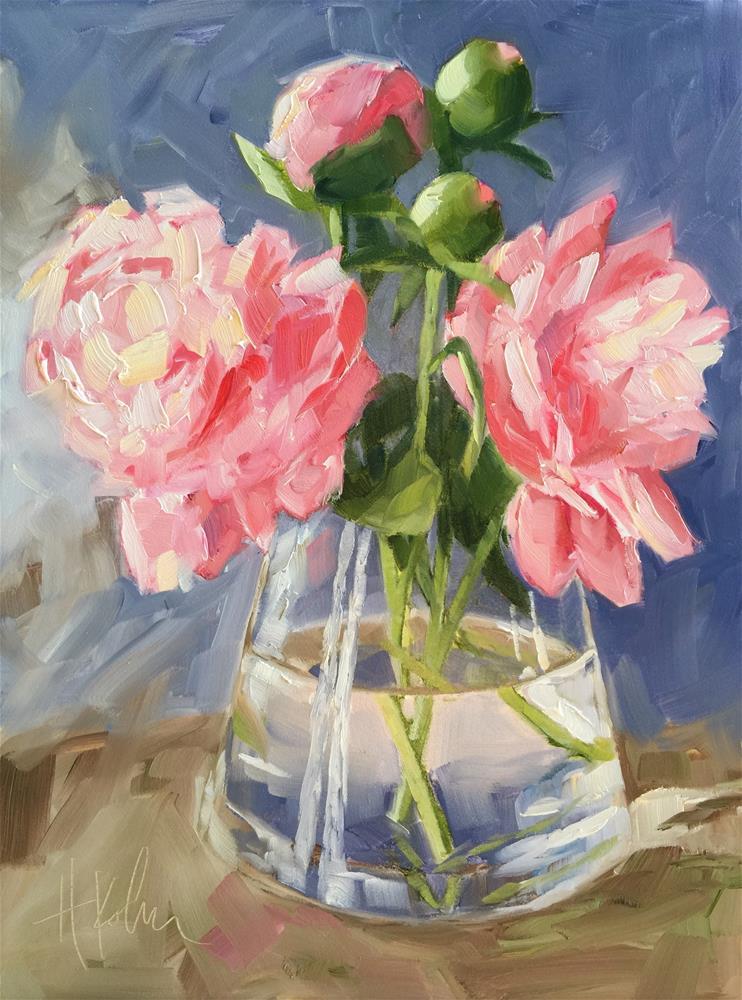 """Pink Peonies"" original fine art by Hallie Kohn"