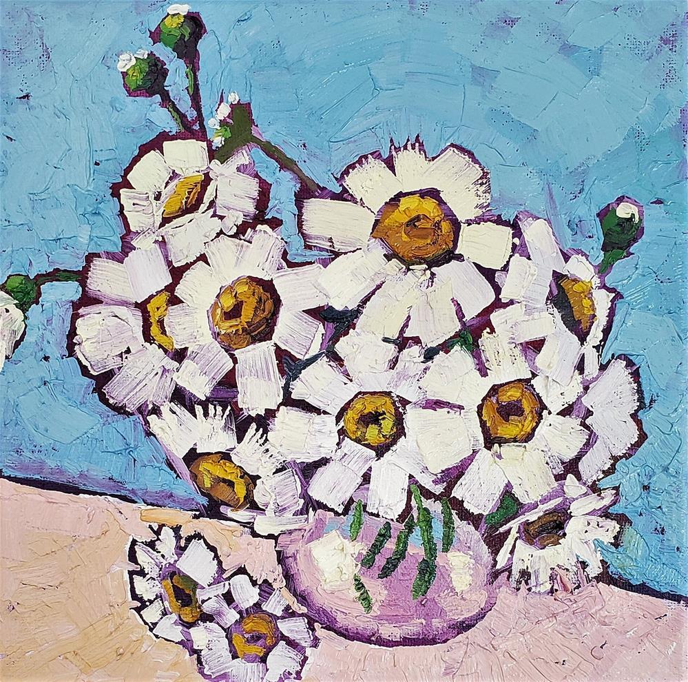 """Crazy for Daisy - Fine Art Oil Floral Painting"" original fine art by Bhavna Misra"