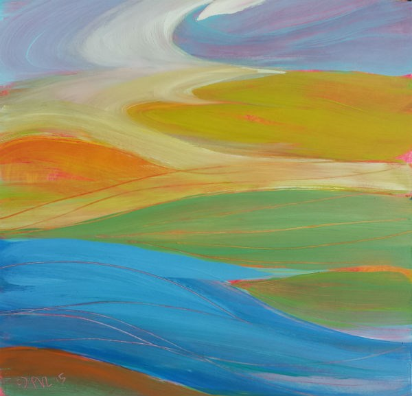 """""""Valley Morning 24 abstract landscape oil painting"""" original fine art by Pam Van Londen"""