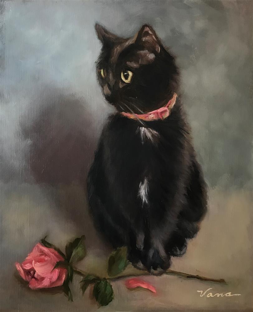 """Binkie Claims a Rose"" original fine art by Vana Meyers"