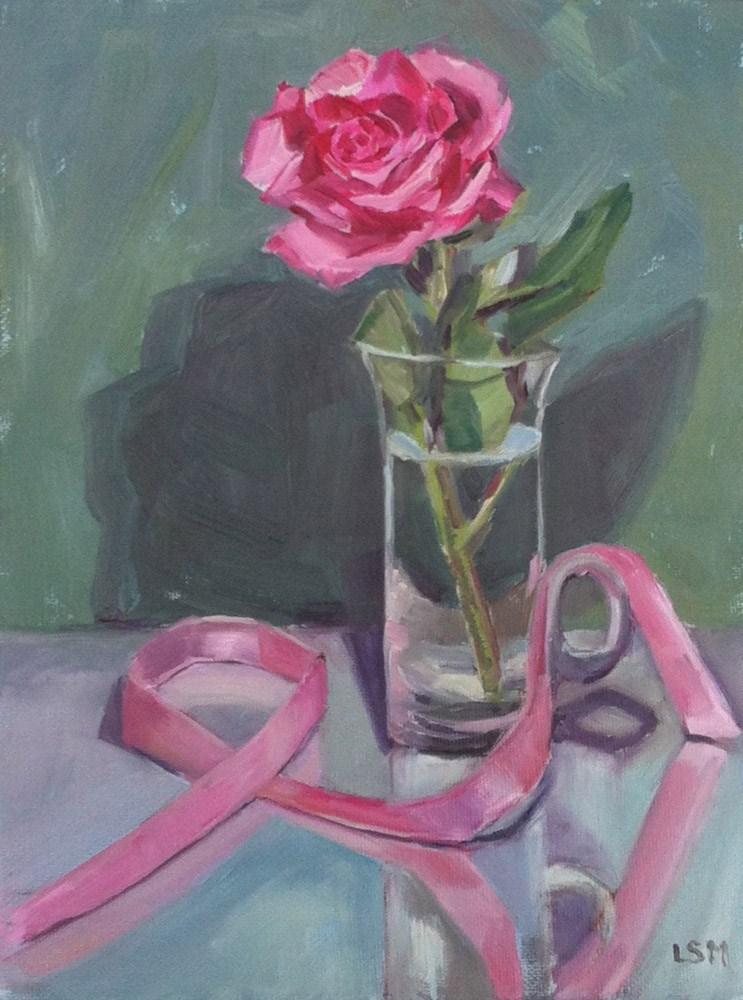 """Pink Rose and Ribbon"" original fine art by Linda Marino"