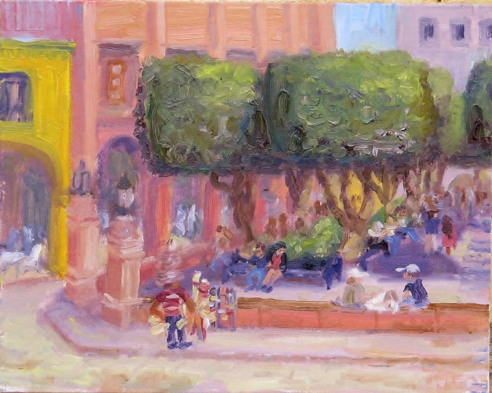 """Jardin Hat Vendor"" original fine art by Richard Kiehn"