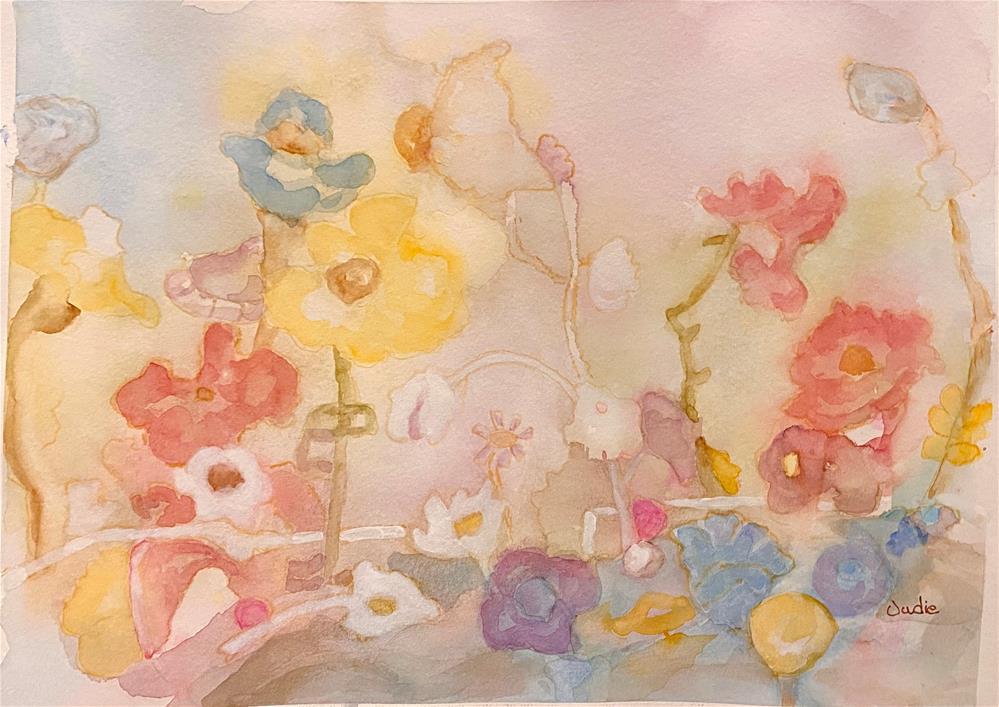 """""""QUIET GARDEN"""" original fine art by Judie Mulkey"""