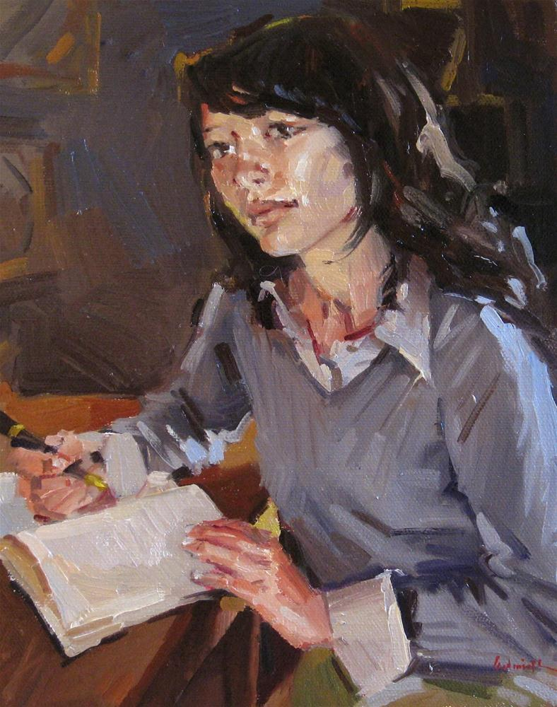 """""""Sketch for 'Layla' portrait painting oil on canvas young woman girl"""" original fine art by Sarah Sedwick"""