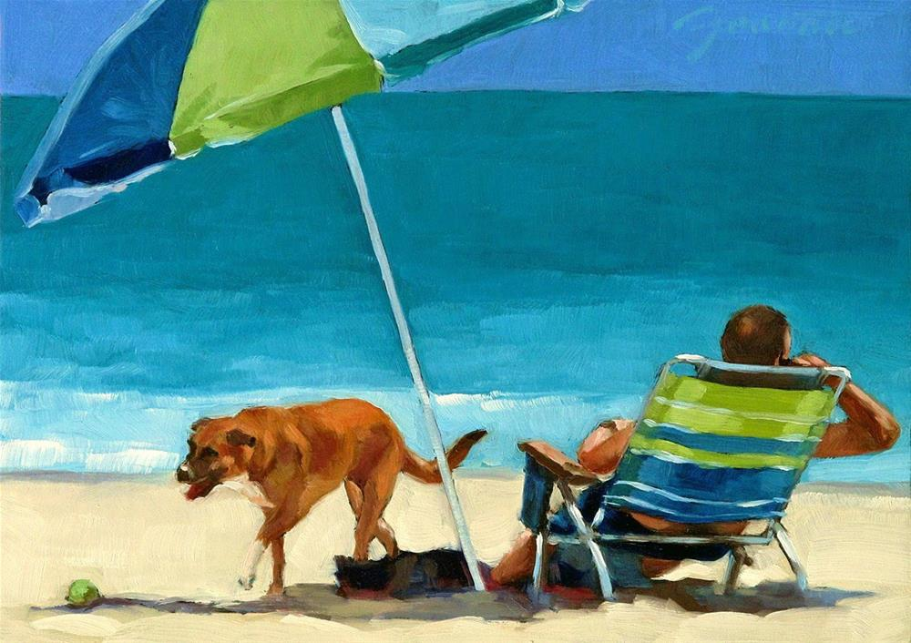 """""""Not Available--Series Painting of Dog & Owner"""" original fine art by Joanna Bingham"""