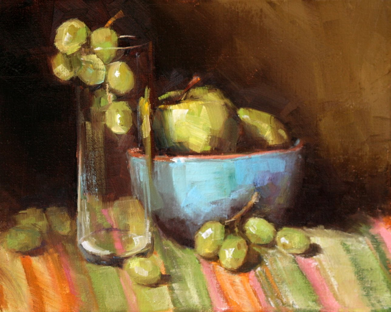 """green grapes and apples"" original fine art by Carol Carmichael"