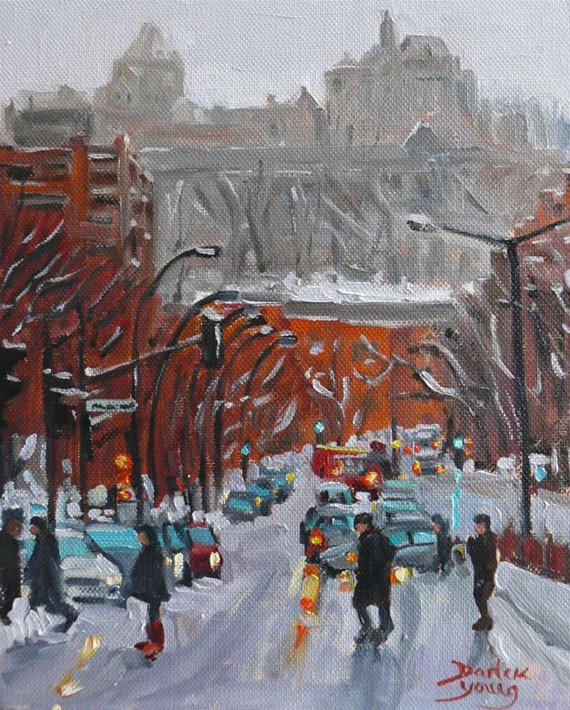 """899 Atwater, Montreal Winter Scene, oil on board, 8x10"" original fine art by Darlene Young"