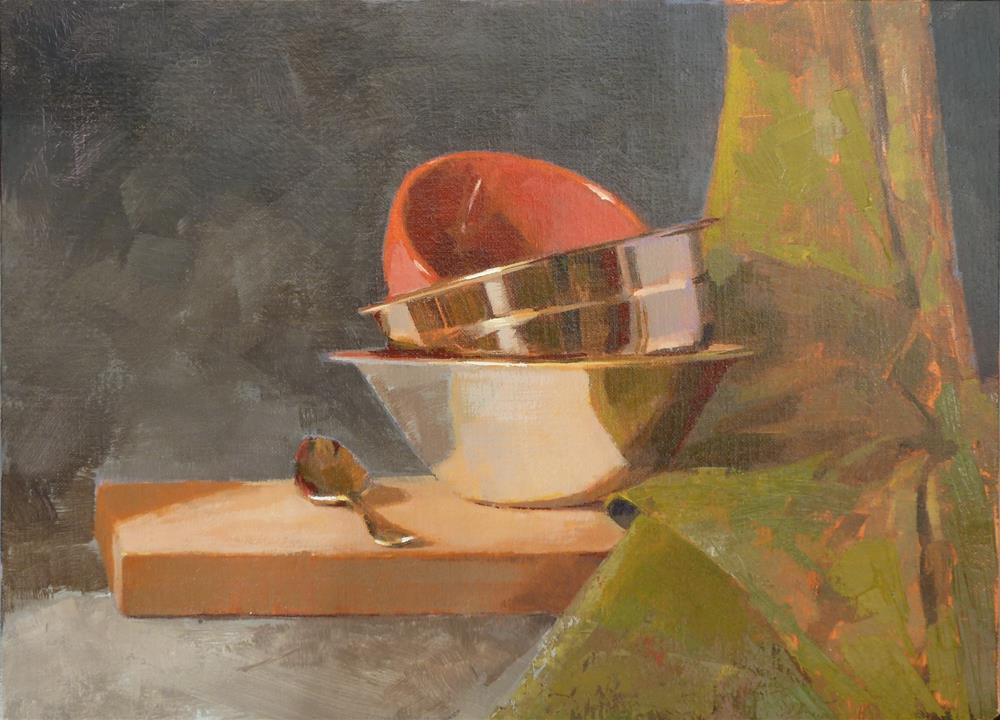 """Bowls and Green Towel"" original fine art by Ron Ferkol"