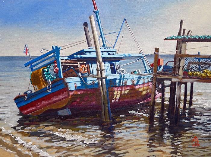 """Low tide, Penang, Malaysia"" original fine art by Alix Baker PCAFAS AUA"