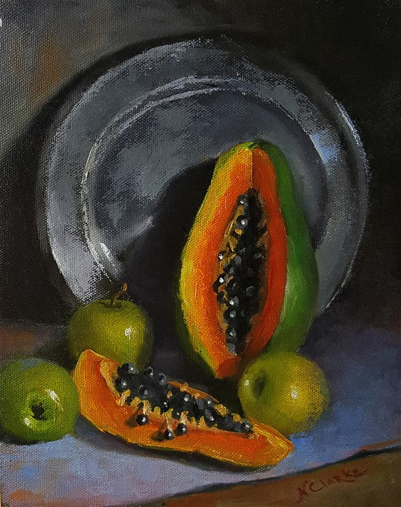 """Still life with Papaya"" original fine art by Natalia Clarke"