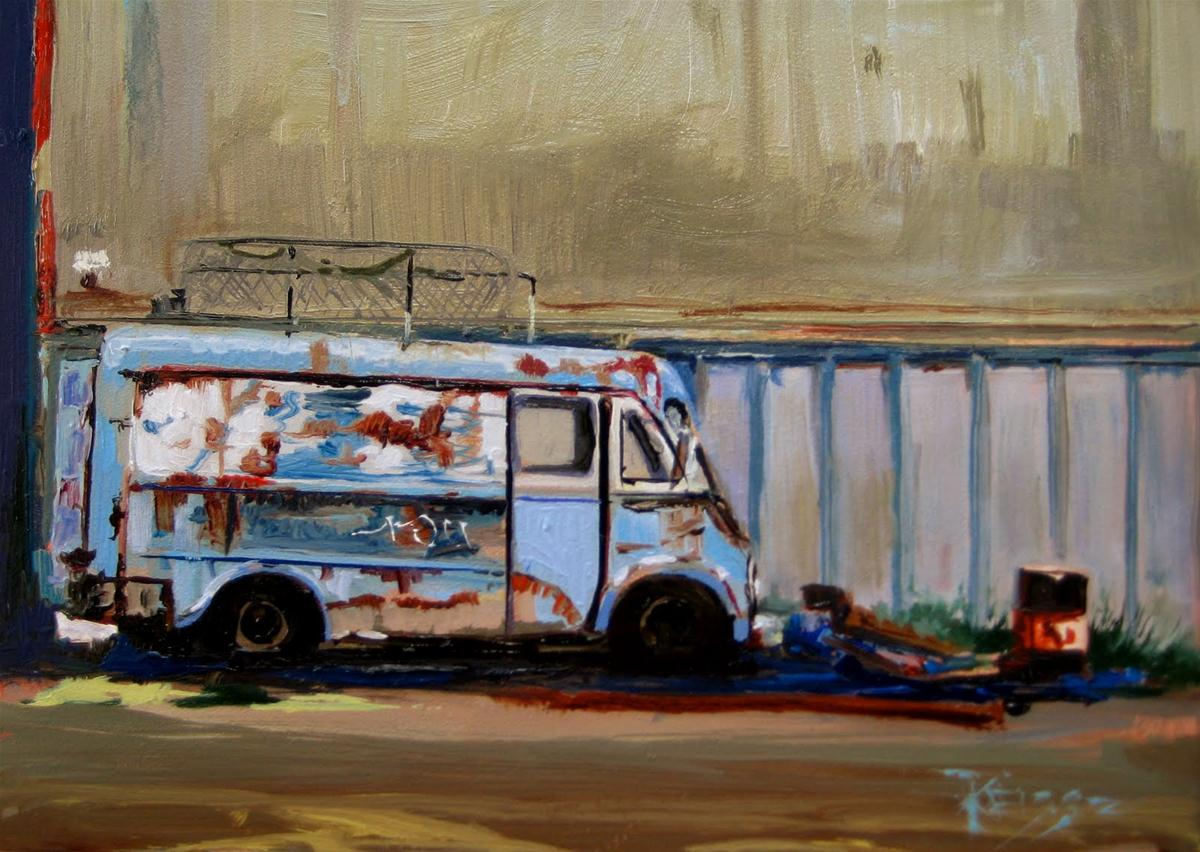 """Blue Van  daily painting"" original fine art by Robin Weiss"