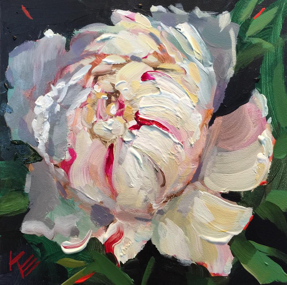 """White Peony"" original fine art by Krista Eaton"