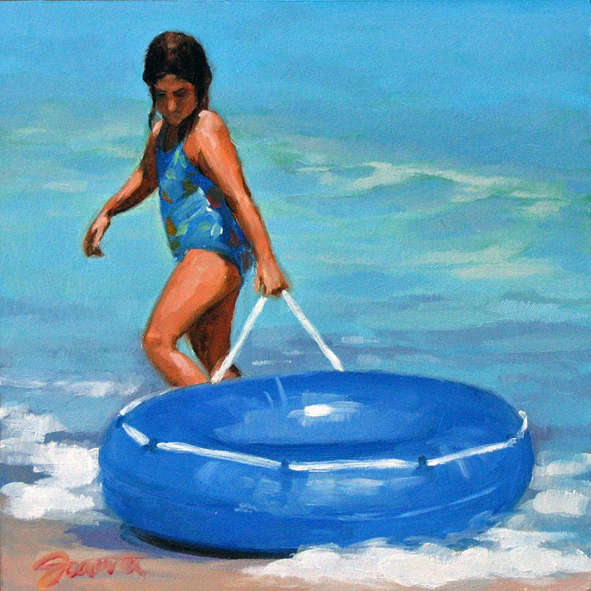 """Blue Ring--Beach Babies Series"" original fine art by Joanna Bingham"