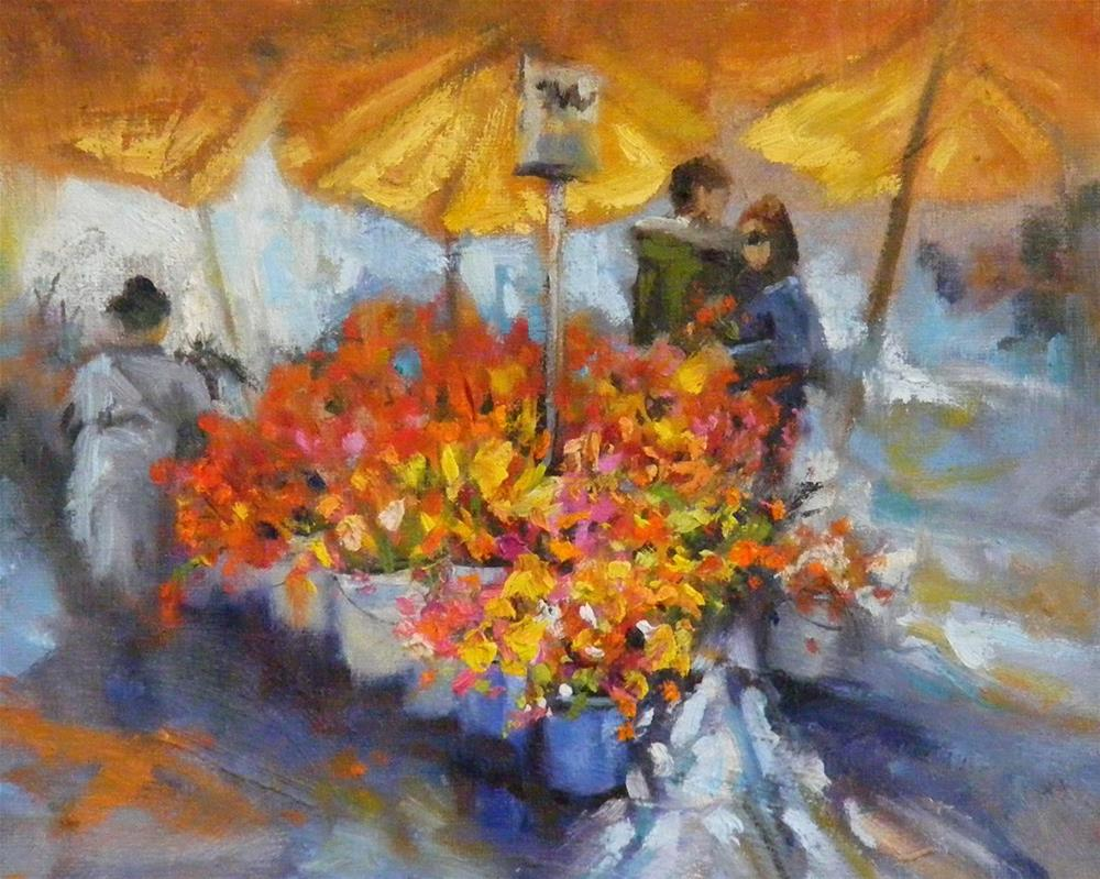 """Daily Flower Market,Cityscape,Oil on Canvas,8x10, price $49."" original fine art by Diana Delander"