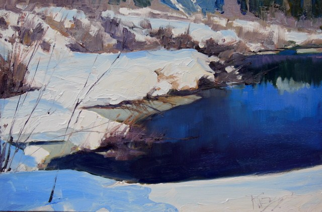 """Gold Creek Snowfields Snoqualmie Pass, plein air landscape painting by Robin Weiss"" original fine art by Robin Weiss"