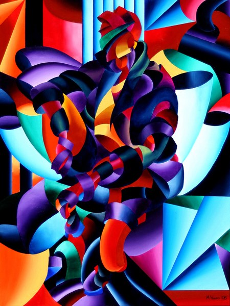 """""""Mark Adam Webster - Anamorphosis from the Outside In - Abstract Futurist Geometric Figurative Oil Pa"""" original fine art by Mark Webster"""