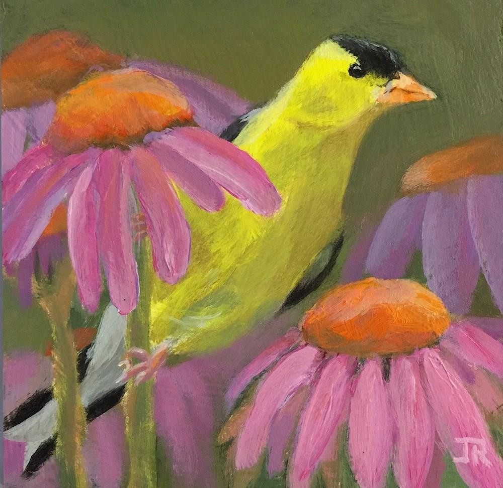 """Goldfinch & Echinacea"" original fine art by June Rollins"