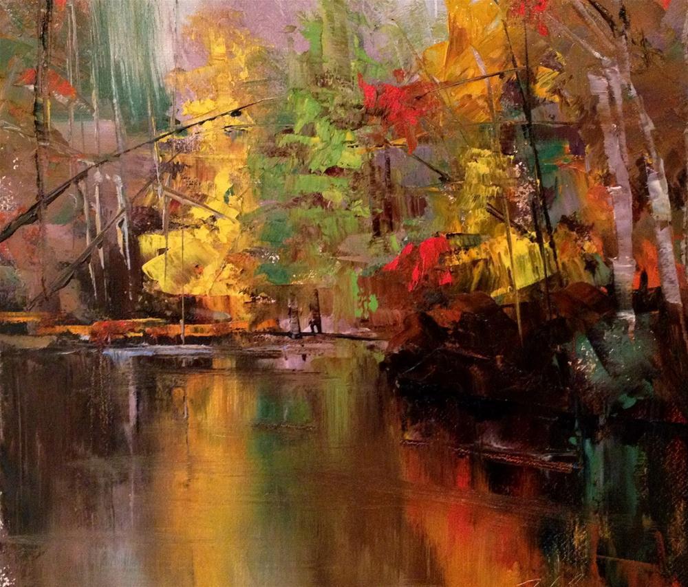 """Autumn Reflections II, 10x8"" original fine art by Ann Feldman"
