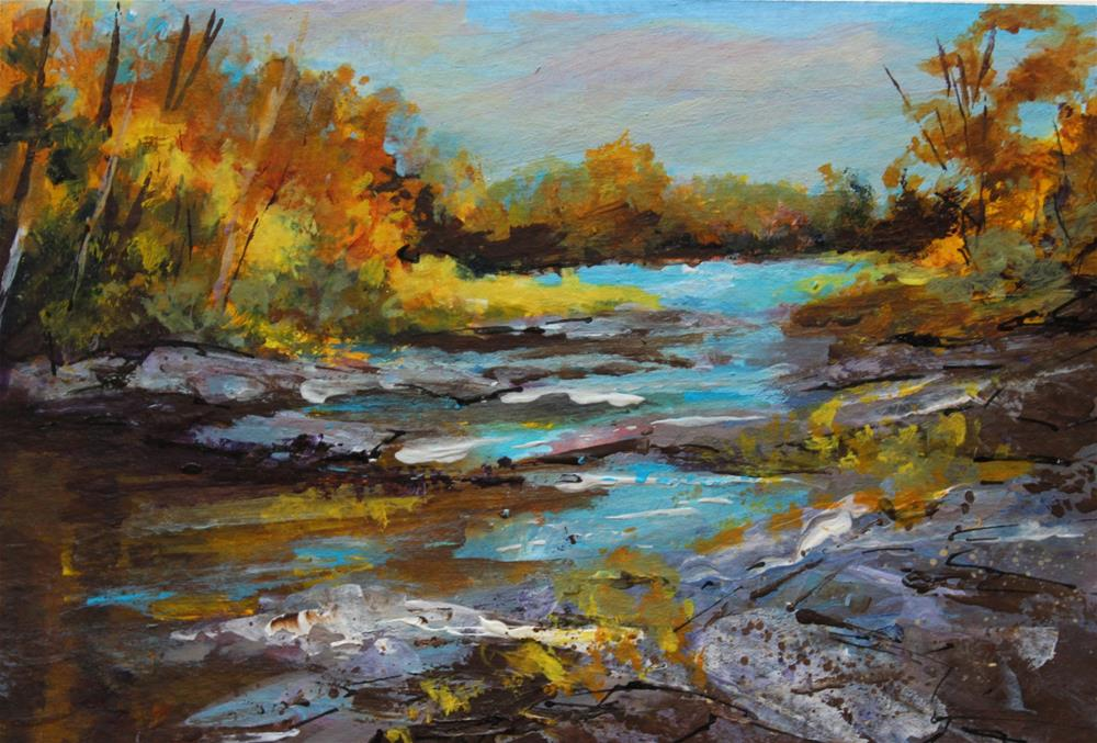 """Original river creek autumn  landscape midwest acrylic painting"" original fine art by Alice Harpel"