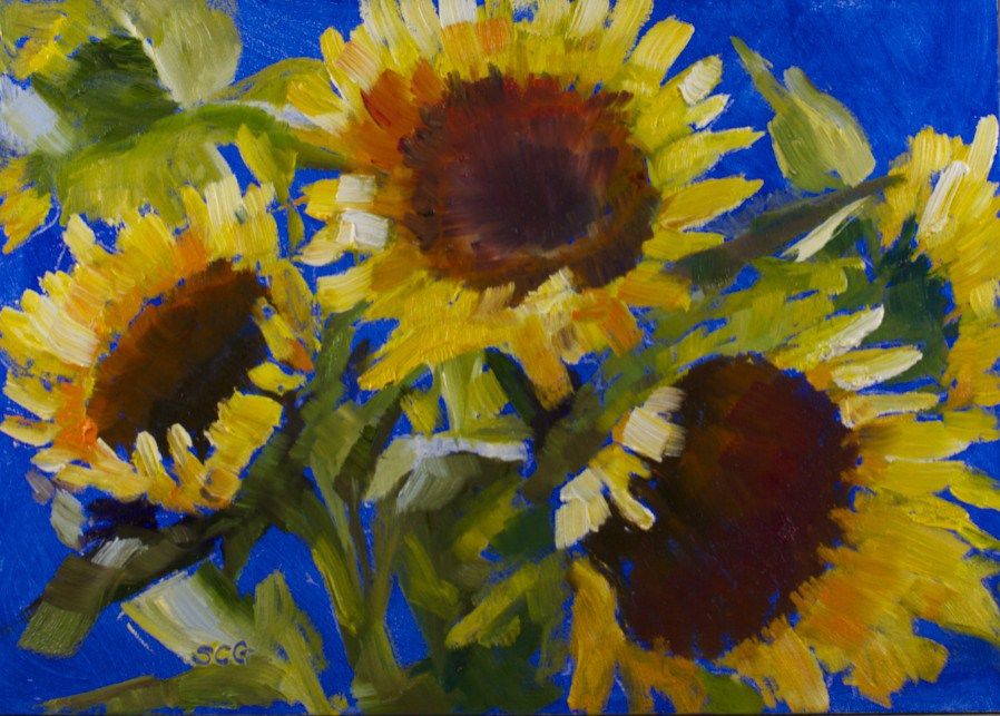 """Sunflowers for a Rainy Day"" original fine art by Sue Churchgrant"