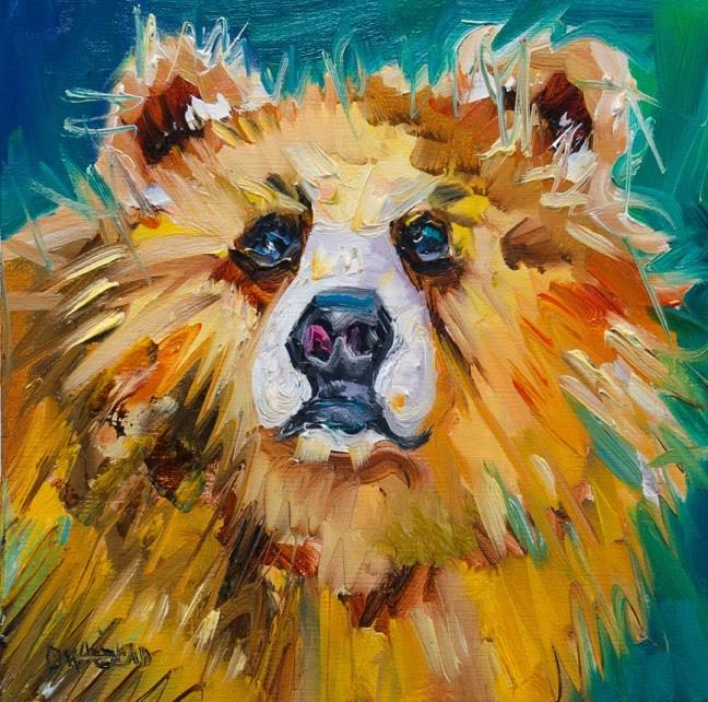"""ARTOUTWEST Bear Wildlife animal art oil painting by artist Diane Whitehead"" original fine art by Diane Whitehead"