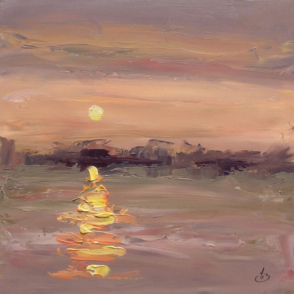 """SUNSET OVER THE WATER"" original fine art by Tom Brown"