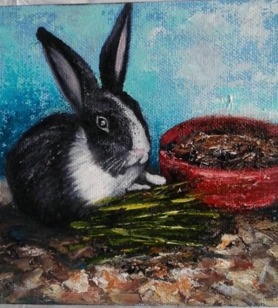 """Black and White Bunny"" original fine art by Camille Morgan"