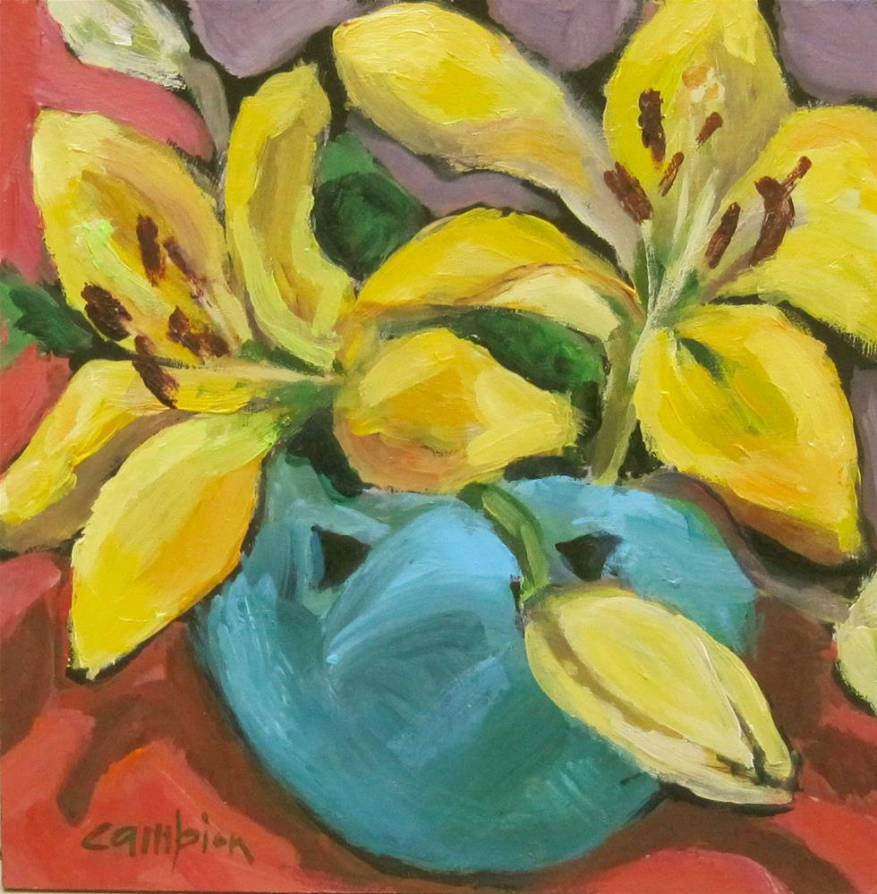"""115 Van Briggle Vase with Lilies"" original fine art by Diane Campion"