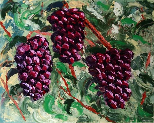 """""""Mark Adam Webster - The Grape Vine Palette Knife Oil Painting"""" original fine art by Mark Webster"""