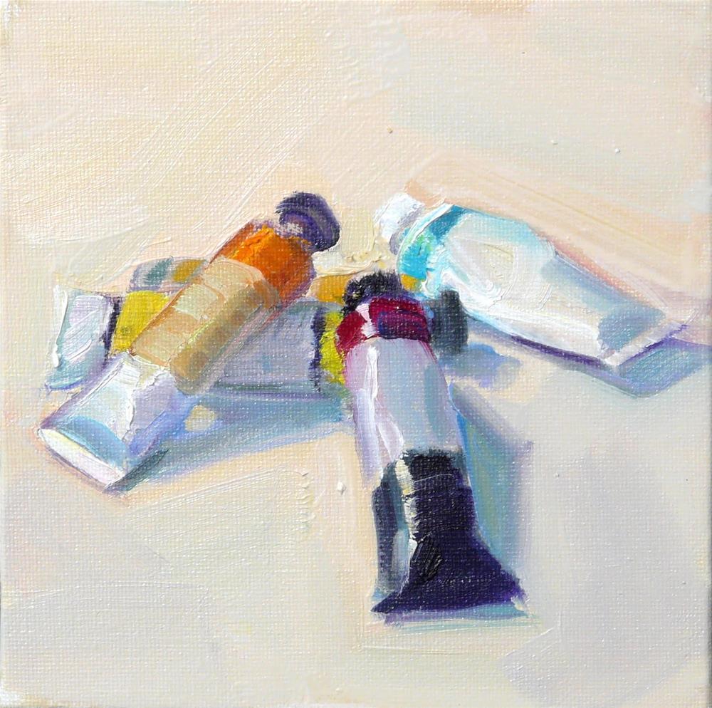"""More Paints,still life,oil on canvas,6x6,price$200"" original fine art by Joy Olney"