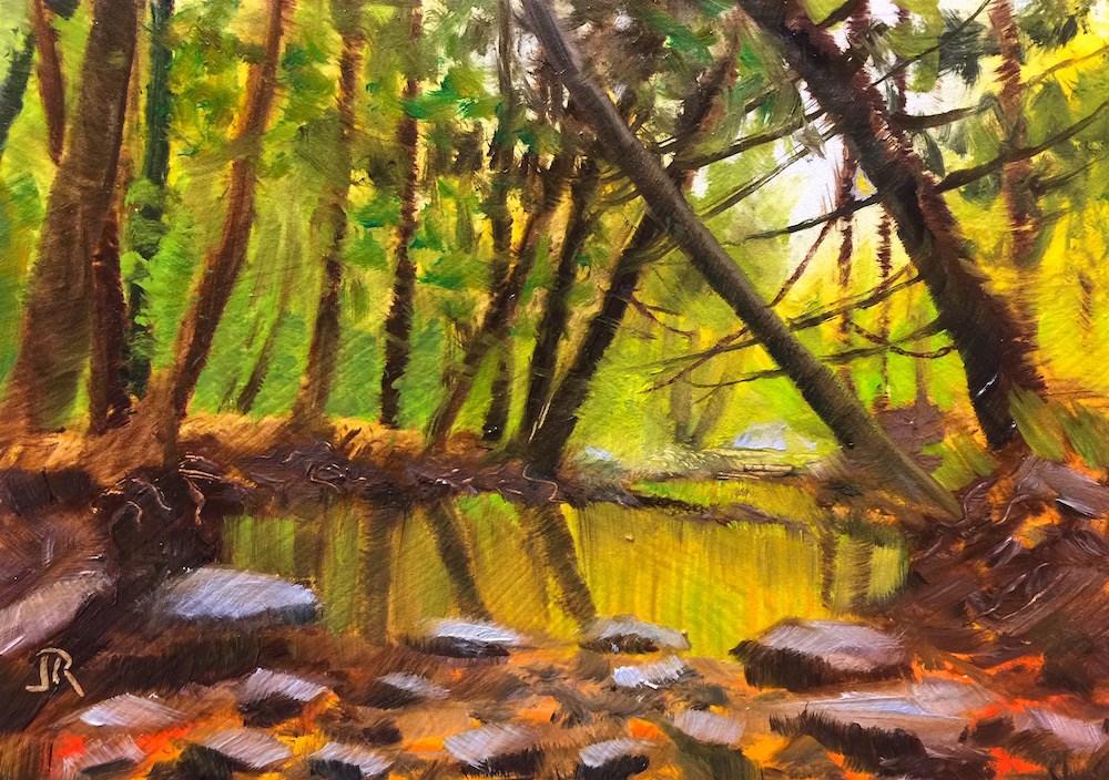 """""""Woodland Refuge"""" original fine art by June Rollins"""