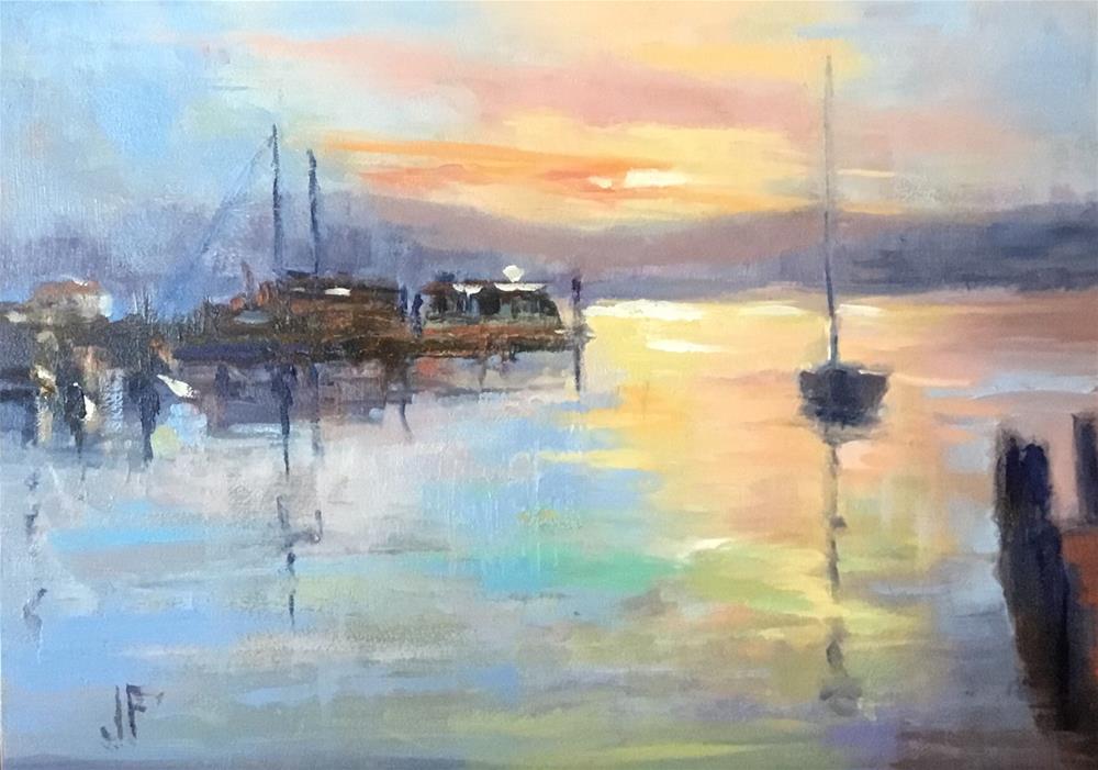 """Marina at Sunset"" original fine art by Charlotte Fitzgerald"