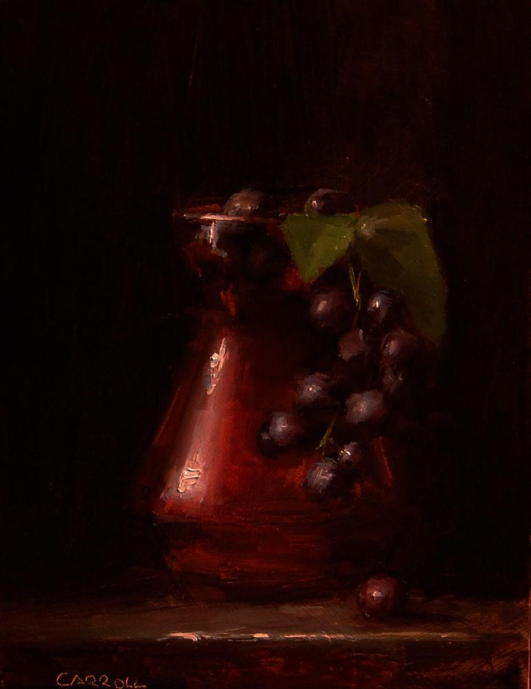 """""""Glass Vase with Hanging Grapes"""" original fine art by Neil Carroll"""