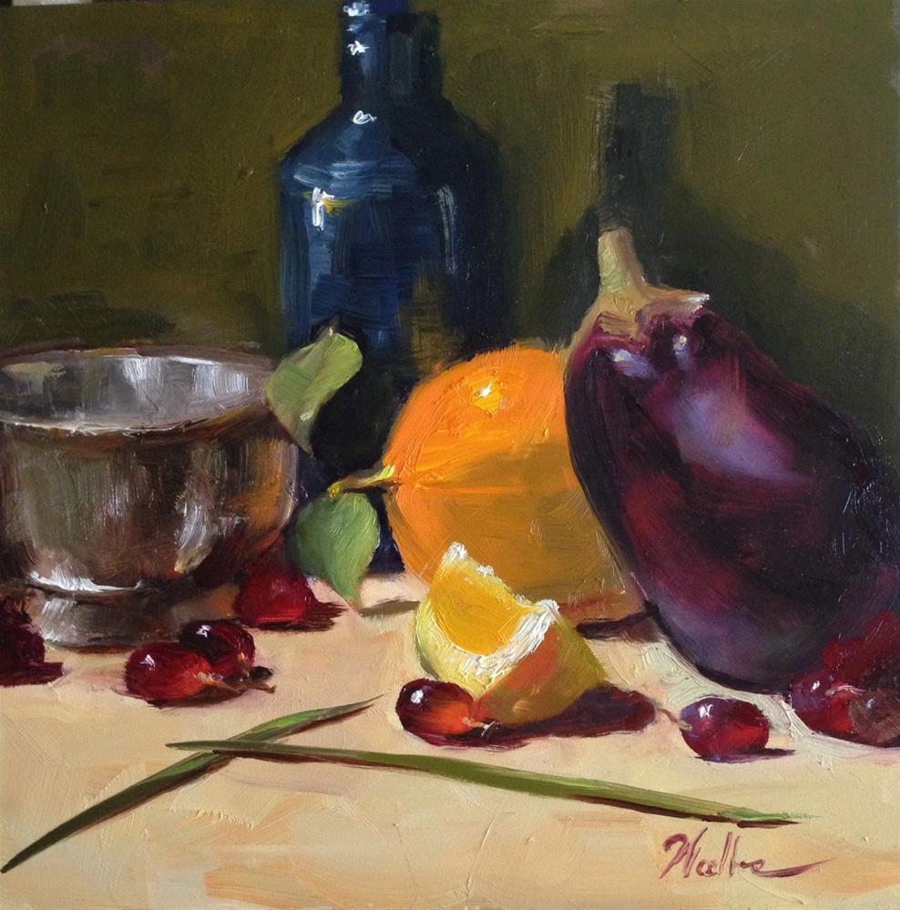 """Blue bottle with Orange"" original fine art by Dorothy Woolbright"