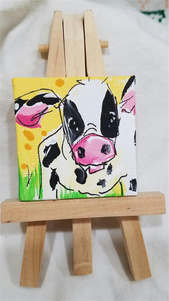 """Itty Bitty Cow"" original fine art by Terri Einer"