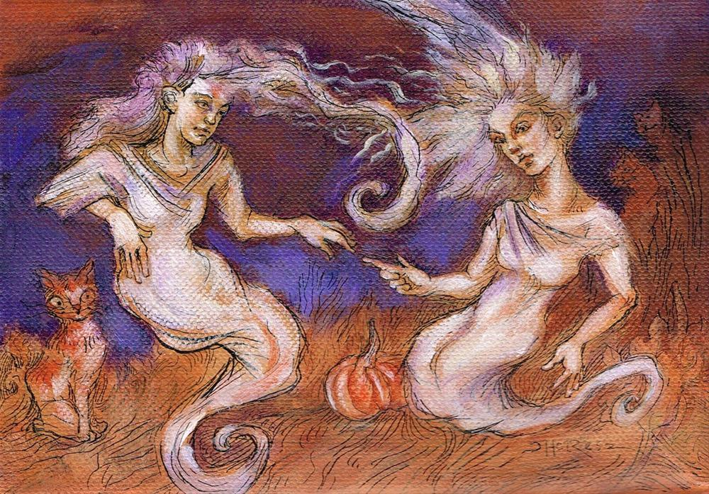 """""""Ectoplasmic Touch"""" original fine art by Theresa Taylor Bayer"""
